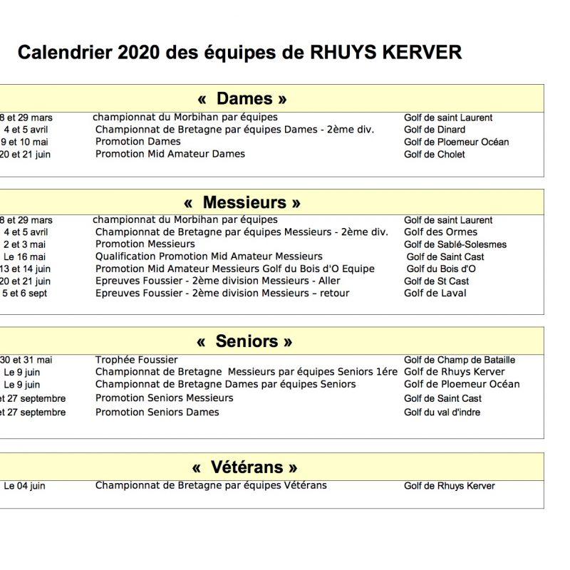 calendrier des compétitions 2020